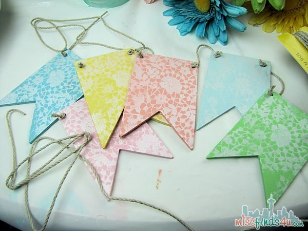 Easter DIY Banner =  Easy Easter Crafts: Wooden Pennant Banner - Easter Dessert Table - DIY Craft Ideas