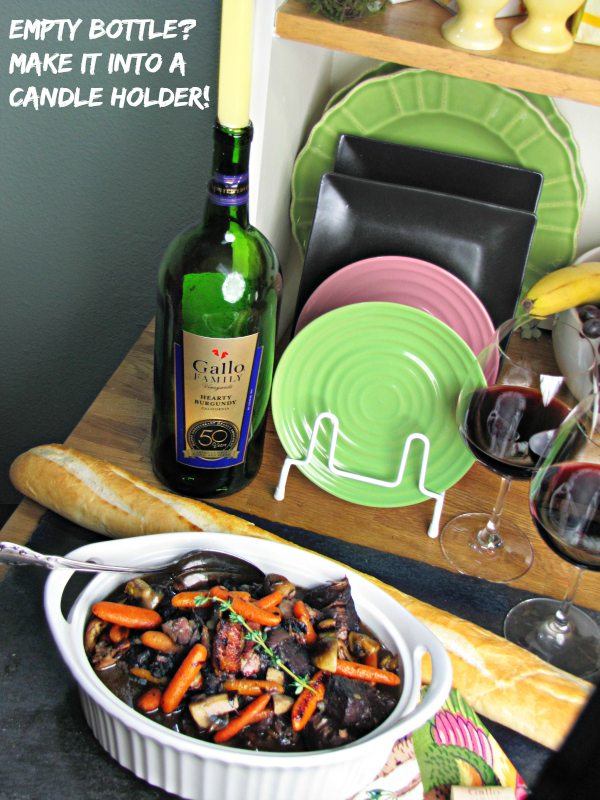 Empty Bottle Reuse it! Craft with it, refill it, or make it into a candle holder - Slow Cooker Beef Burgundy