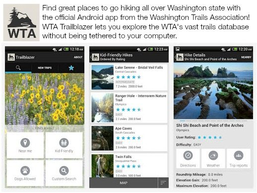 WTA Trailblazer App - find trails in Washington State, get weather, and more on your android smartphone.