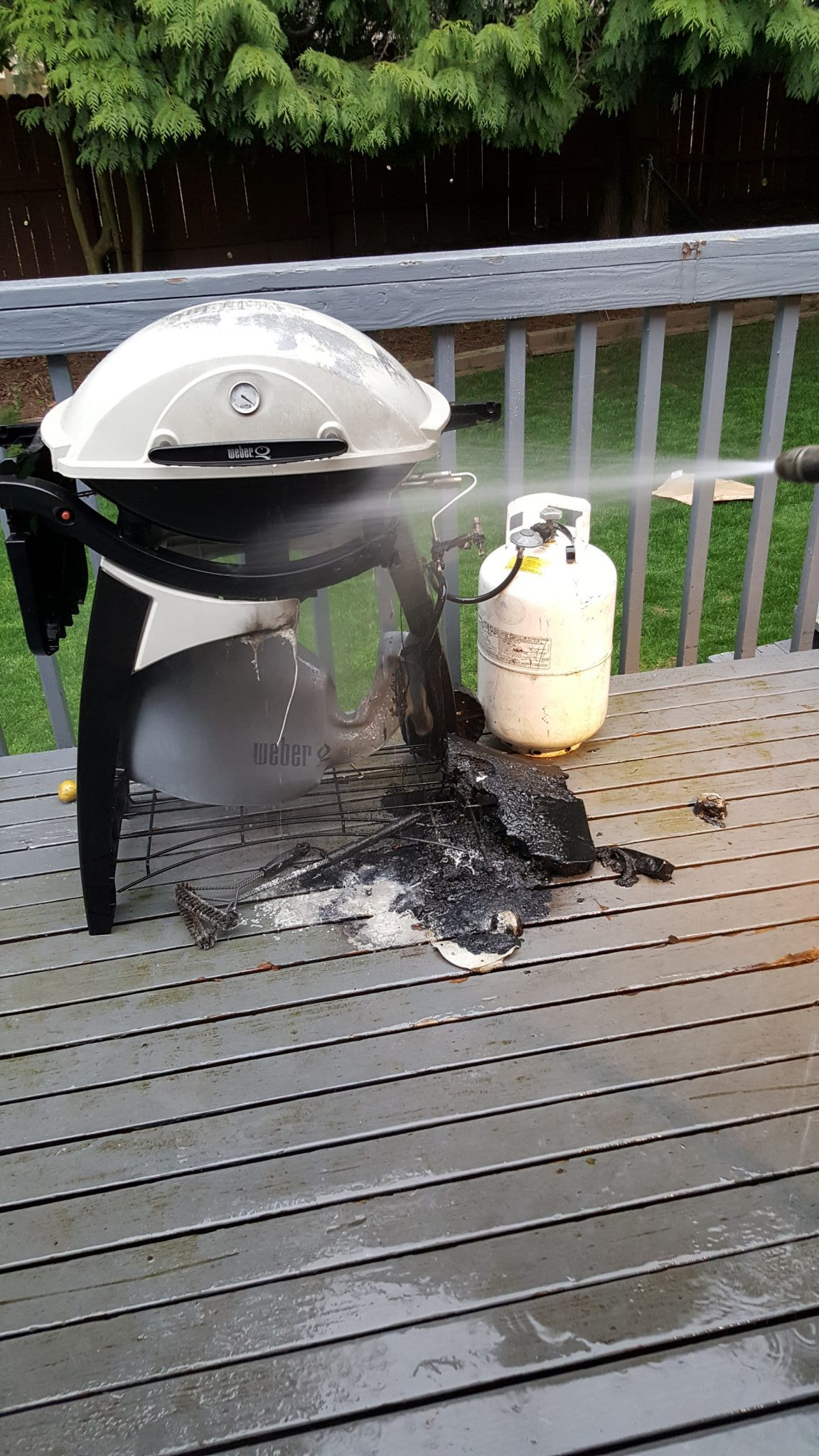 Grill Fire Behr Deckover Paint Prevented The Top Of Deck From Burning