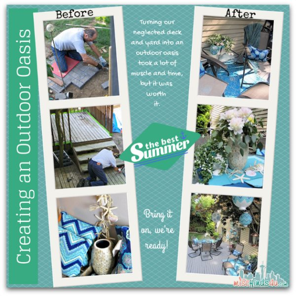 Backyard Makeover Before and After pictures - Outdoor Oasis Party: Create One in 3 Easy Steps #MC #Pier1OutdoorParty @pier1 sponsored