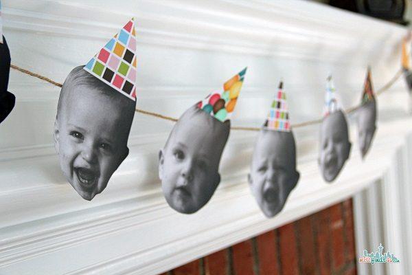baby face birthday garland - Stress Free Birthday Parties: First Birthday Party Ideas