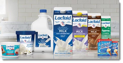 LACTAID PRODUCTS - Milk, Icecream, Cottage Cheese, and tablets  (photo credit: lactaid.com)