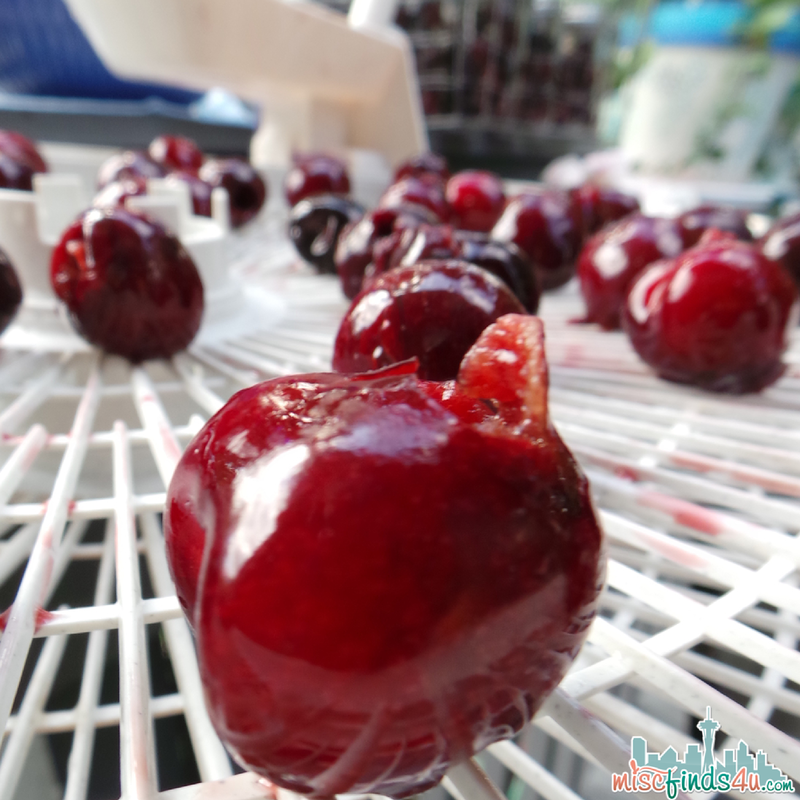"""Aim for a 1/2"""" of space between cherries on the drying racks."""