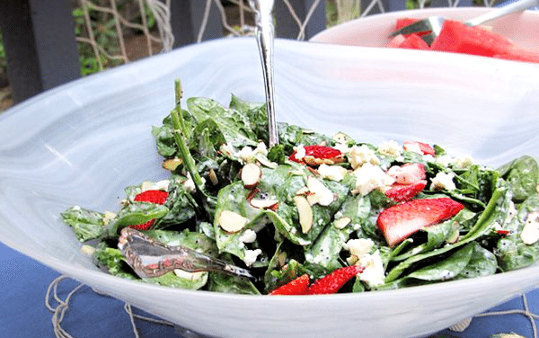 Spinach Salad: Strawberry and Feta with Poppy Seed Dressing Recipe
