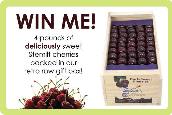 Win 4 pounds of Stemilt cherries and a retro row gift box!