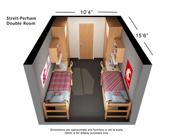 My Son's College Dorm Room  Dimensions -