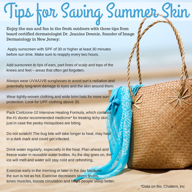 Tips for Saving Summer Skin by Dr.  Jeanine Downie   #MC #Cortizone10 sponsored