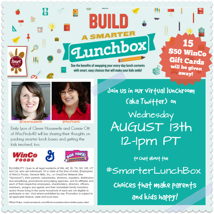 Build a Smarter Lunchbox Twitter Party RSVP - sponsored by WinCo and General Mills through the One2One Network - Sponsored