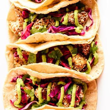 Crispy Cauliflower Tacos with Slaw and Avocado Cream by Blissful Basil