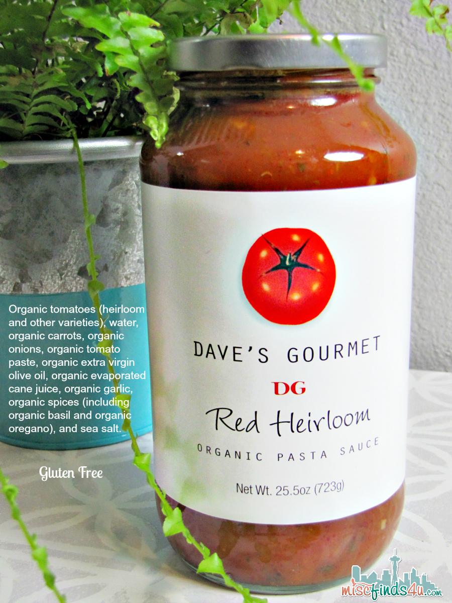 Dave's Gourmet Red Pasta Sauce Ingredients - ad