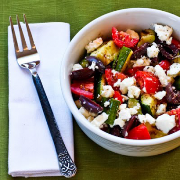 Grilled Zucchini Greek Salad by Kalyns Kitchen
