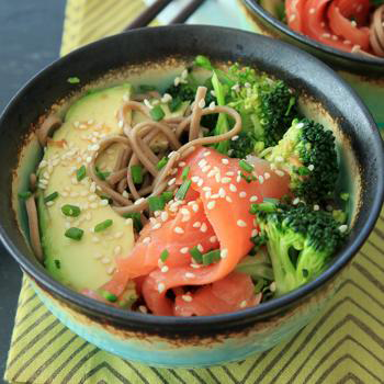 Smoked Salmon Soba Bowl by Snixy Kitchen