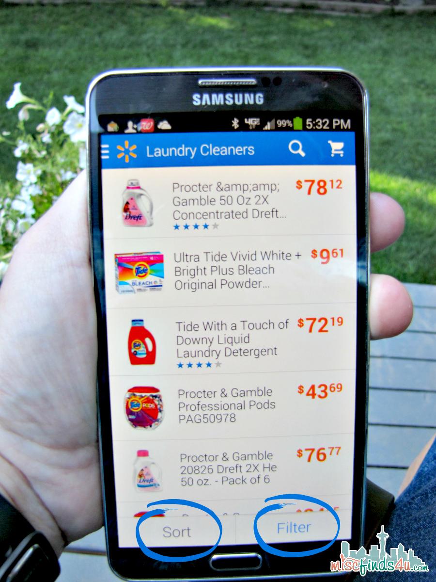 Walmart Smartphone App Sort Filter - spon