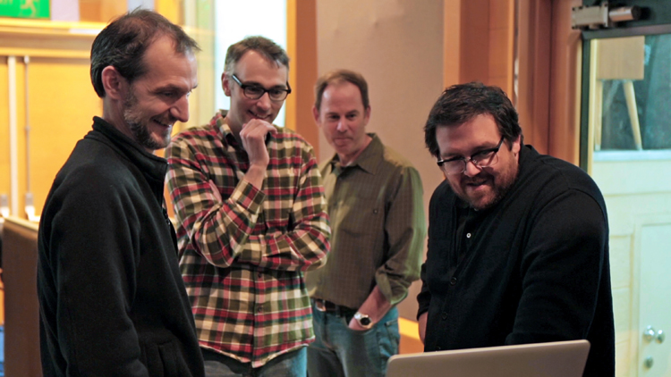 The Boxtrolls Cast - (L to R) Director Anthony Stacchi, Director Graham Annable, Producer David Ichiok and voice talent Nick Frost review a scene during production of LAIKA and Focus Features' family event movie THE BOXTROLLS, opening nationwide September 26th. Credit:  LAIKA, Inc.