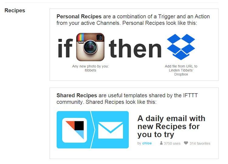 IFTTT Recipes vs Shared Recipes