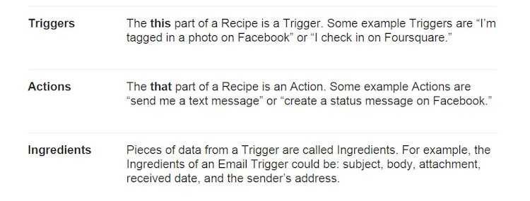 IFTTT Triggers Actions Ingredients Explained