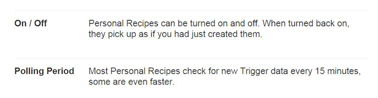 IFTTT Turning Recipes On Off and Polling