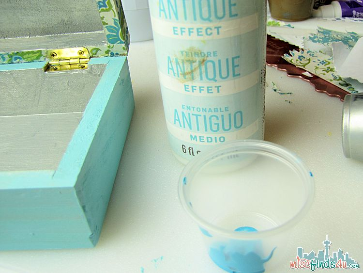 Painted Trinket Box - teal antique