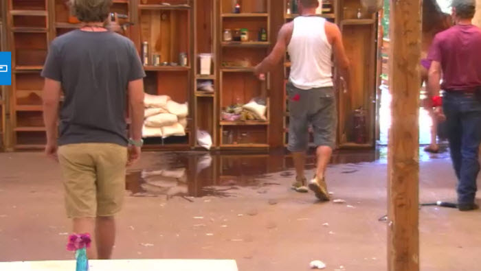 Utopia - Cleaning up the spilled food (screen shot - FOX) - FOX Utopia: Tantrums, Threats, and The Rants of Angry Men #Utopia