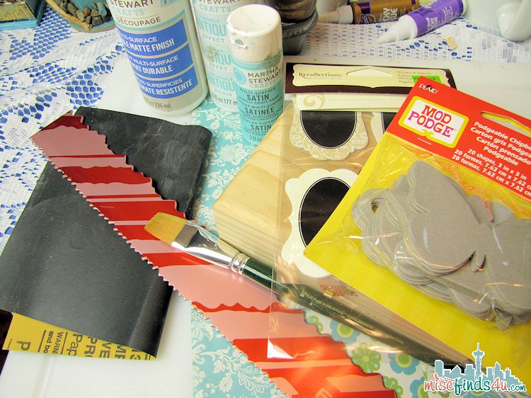 How to Paint a Wood Box - Decoupage Craft Makeover-  supplies