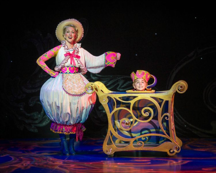 Kristin Stewart as Mrs. Potts and Jack Mullen as Chip. Photo by Amy Boyle. Beauty and the Beast National Tour Seattle  ad