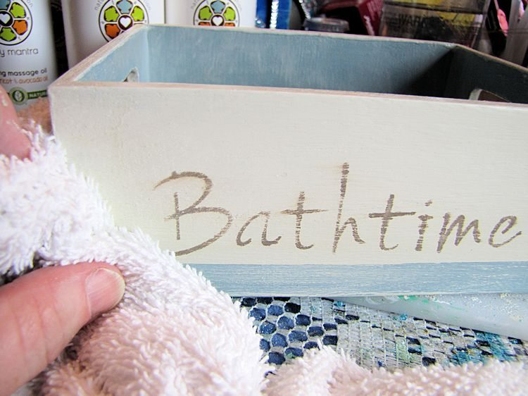 DIY Baby Bath Gift Box - buffing clear wax