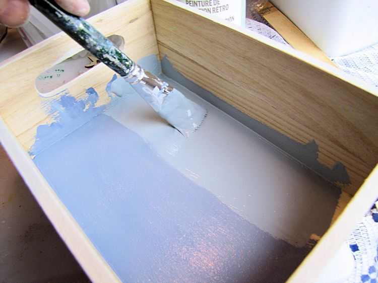DIY Baby Bath Gift Box -painting the basecoat for inside