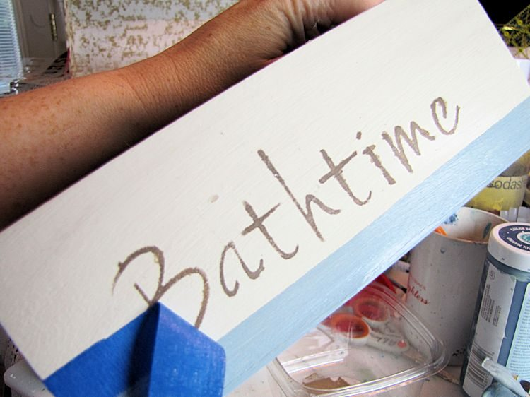 DIY Baby Bath Gift Box - removing stencil tape