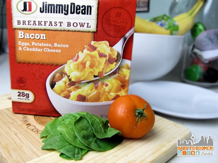 Jimmy Deen Breakfast Bowl - Protein Keeps Him Fueled For His Busy Day #BringHillshireHome sponsored