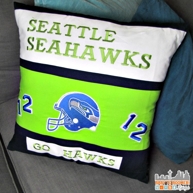 Quilt and Embroidered Seahawk Pillow = Free Crochet Headband Pattern: Seattle Seahawks #VZWBuzz #MoreSeattle ad