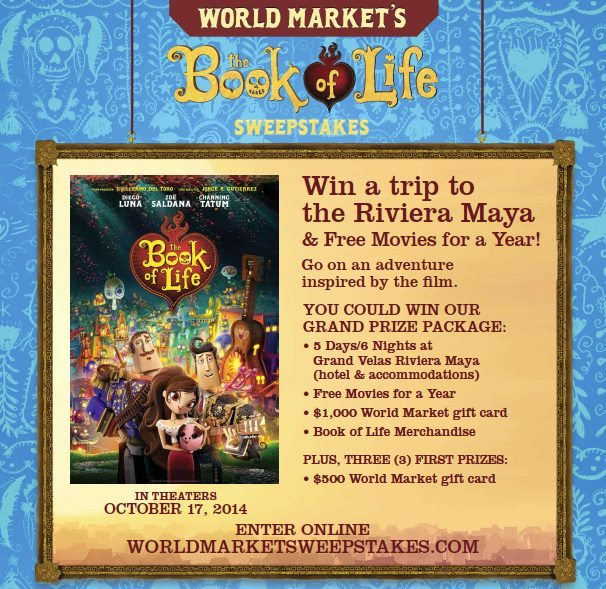 World Market Book of Life Sweepstakes - The BOOK OF LIFE World Market Exclusives & Sweepstakes #BookofLife @WorldMarket Sponsored