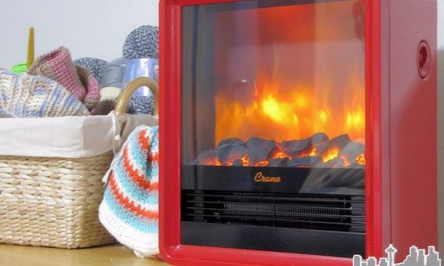 Crane Heater Red Electric Fireplace Heater Creates a Warm Glow