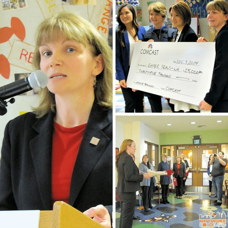 (l to r) Cathy Bisaillon, President and Chief Executive Officer shares the Easter Seals mission; media tours the Angle Lake facility; Diem Ly present the ceremonial check to SeaTac Mayor Mia Gregerson,