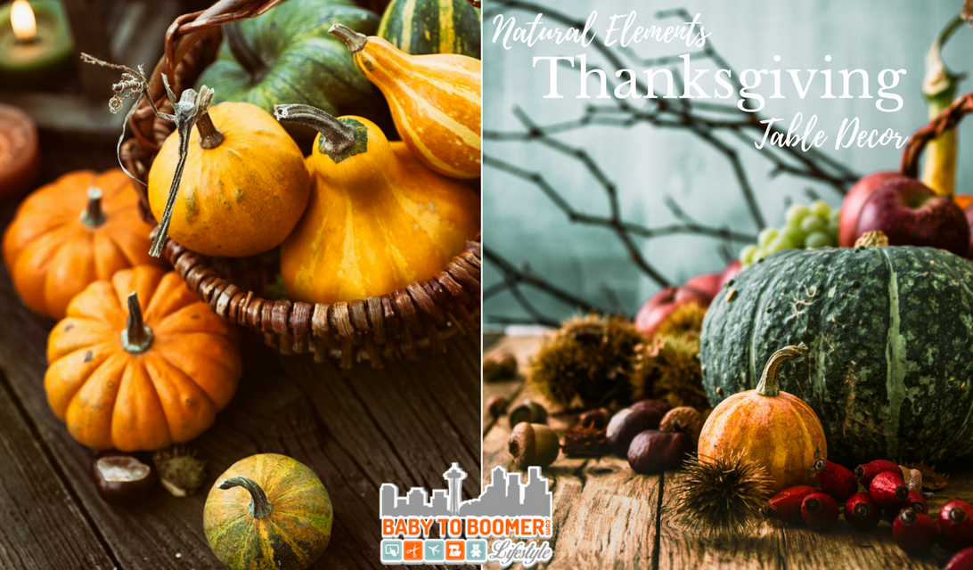 Quick, easy & cheap Thanksgiving Table Decor - reuse Halloween decor and other items scavenged outside