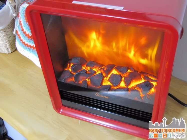 Crane Heater Red Electric Fireplace Heater Review - It Creates a Warm Glow or heats the room. Cool-touch and fun colors add great style to any room.