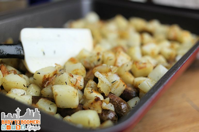 Easy egg, potato and sausage bake recipe - Baker's Secret Colored Bakeware - #ad