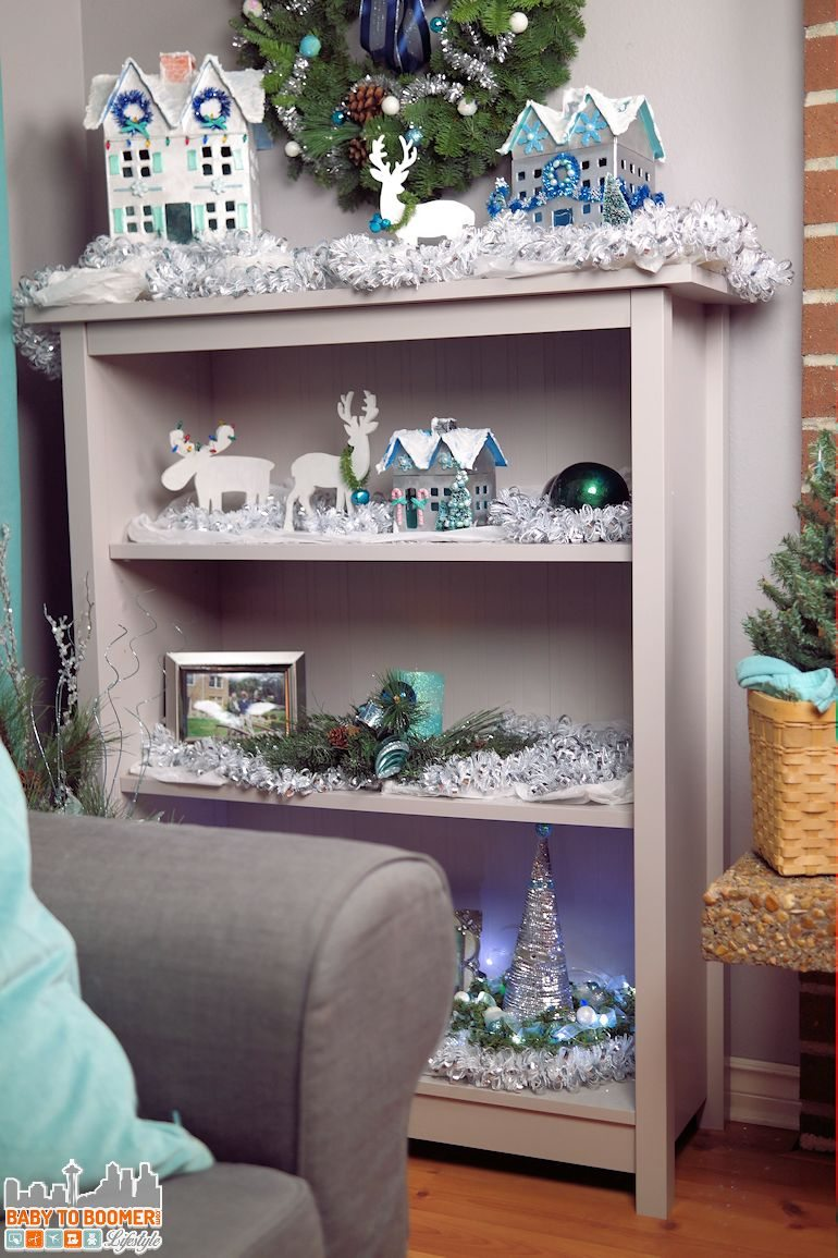 Christmas Decorations: Bookcase Holiday Makeover with DIY decor #ad