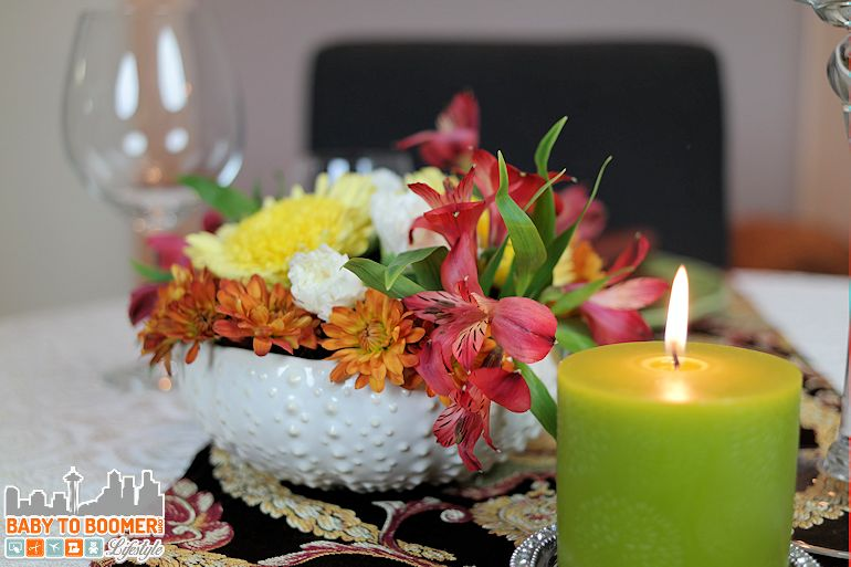 Flowers & candles set the mood - HoneyBaked Holiday: Thanksgiving Was Never So Easy ad