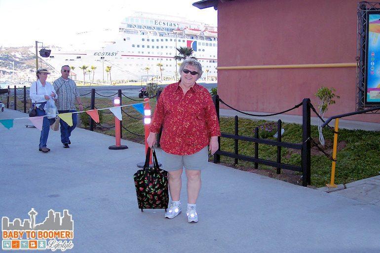 My mom on our Long Beach CA to Ensenada, Mexico  via Catalina Island cruise.Carnival.  Extasy Baja Mexico Cruise - Long Beach CA to Ensenada  ad