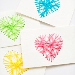 DIY String Heart Valentine Cards by Agnes Hsu'