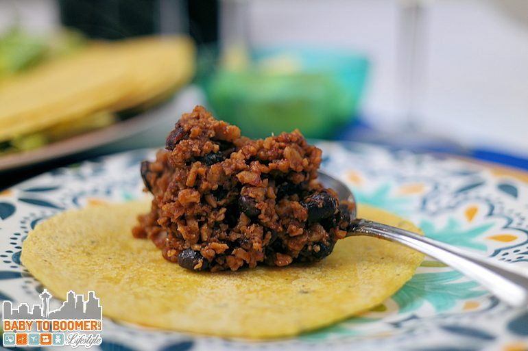 Quick Black Beans and TVP Tacos - Vegetarian Tacos Featuring McCormicks Taco Chipotle & Garlic Skillet Sauce #McCormickSkilletSauce ad