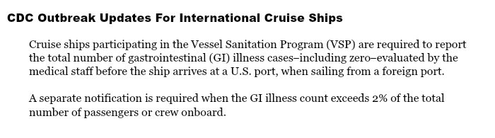 CDC Outbreak Updates for International Cruise Ships