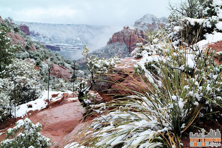 Sedona Airport Mesa Vortex - the trail in snow