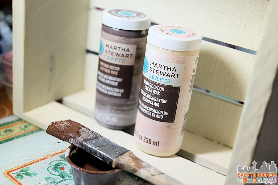 Create an antique crate - mixing chalk paint and wax for a thinner coat of paint to allow the wood to shine