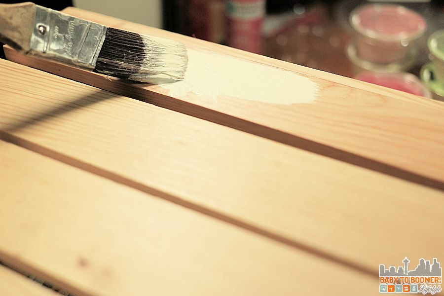 Create an antique crate - painting the bare natural crate with chalk paint mixed 2/3 wax and 1/3 chalk paint
