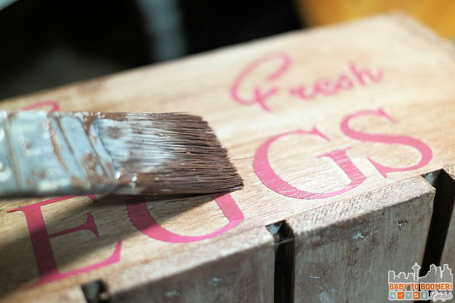 Create an antique crate - antiquing over vinyl lettering to dull it a bit (it will be removed later so the crate can be reused for something else.