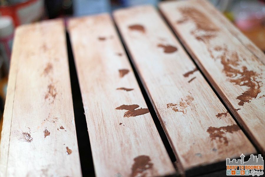 Create an antique crate - adding splotches of antique wax to create more natural finish