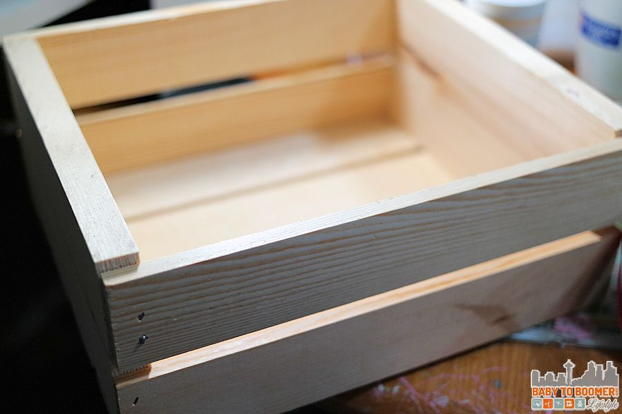 How to Create an Antique Paint Finish Wood Crate - natural crate before painting