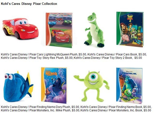 Kohl's Cares Disney Pixar Plush and Books - ad